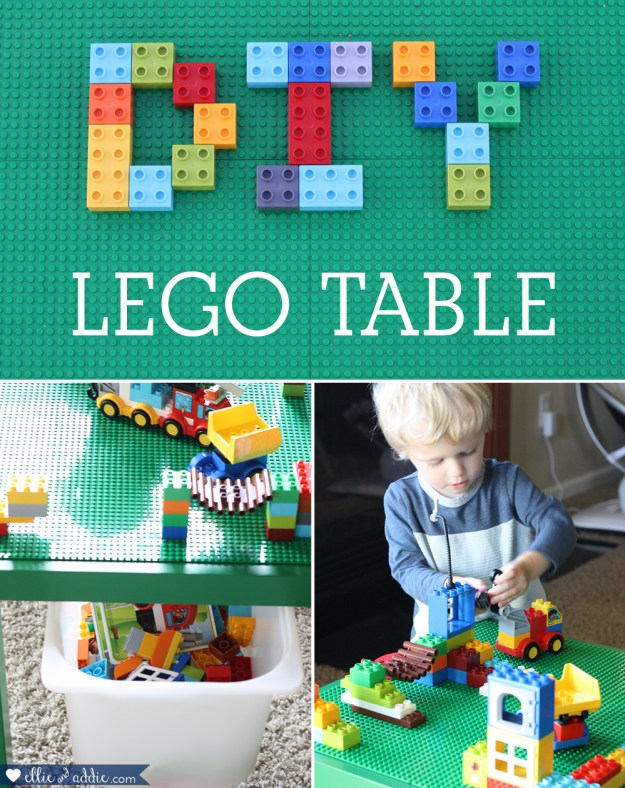 DIY Lego Table - The easiest DIY Lego Table with an IKEA Lack table and Creative QT Peel-And-Stick Baseplates! Works with Duplos or regular Legos! By Ellie And Addie
