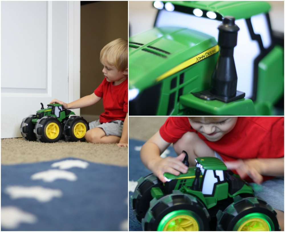 Monster. Tractor. Wheels. - A sneak peek at the new John Deere Monster Treads Deluxe Lightning Wheels Tractor by TOMY | Ellie And Addie