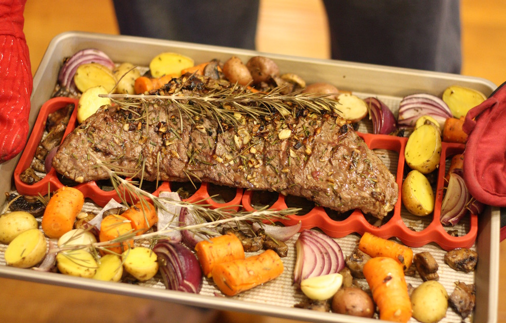 Easy Sheet Pan Dinner Recipe using tri-tip beef with OXO | Ellie And Addie