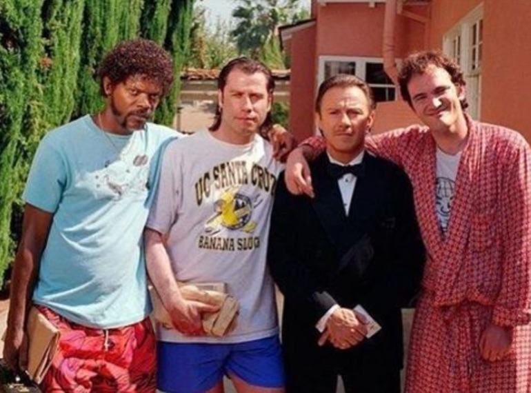 Cast of Pulp Fiction on set