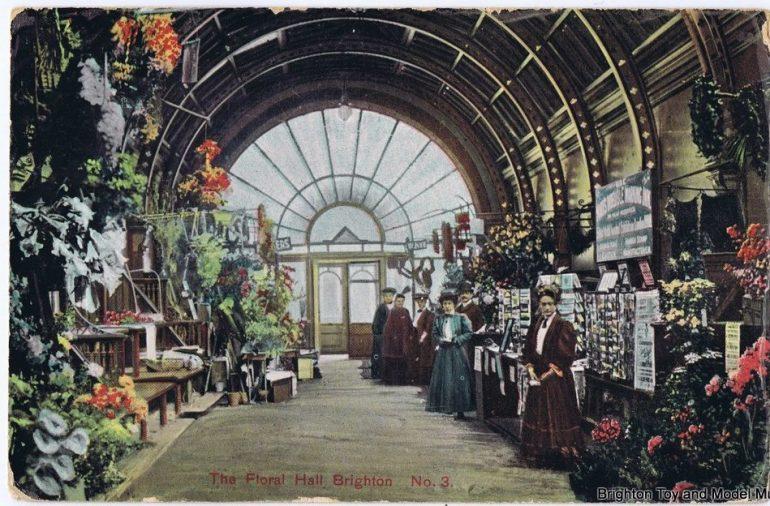 Brighton floral hall colourised postcard