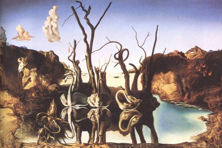 swans reflecting elephants salvador dali 1937