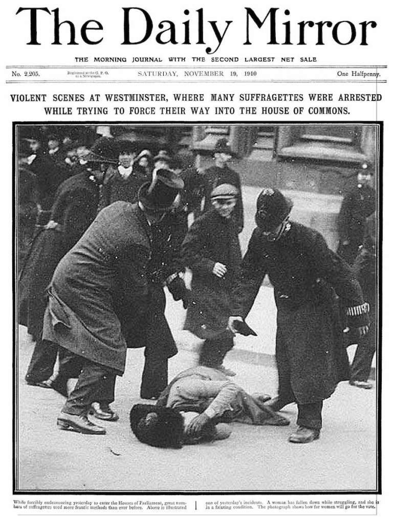 Daily mirror front page 1910 black friday suffragette on ground