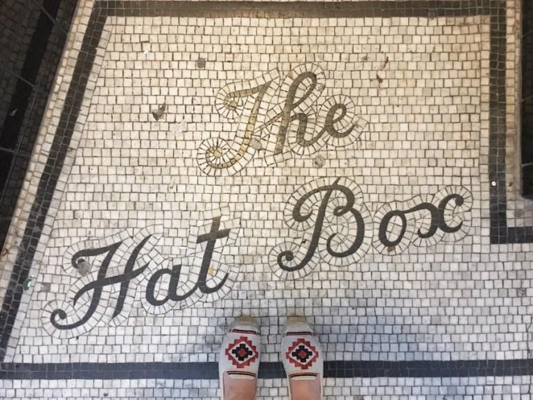 vintage shopfront entrance mosaic the hat box gardner street Brighton