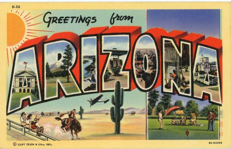 greetings from arizona vintage travel postcard