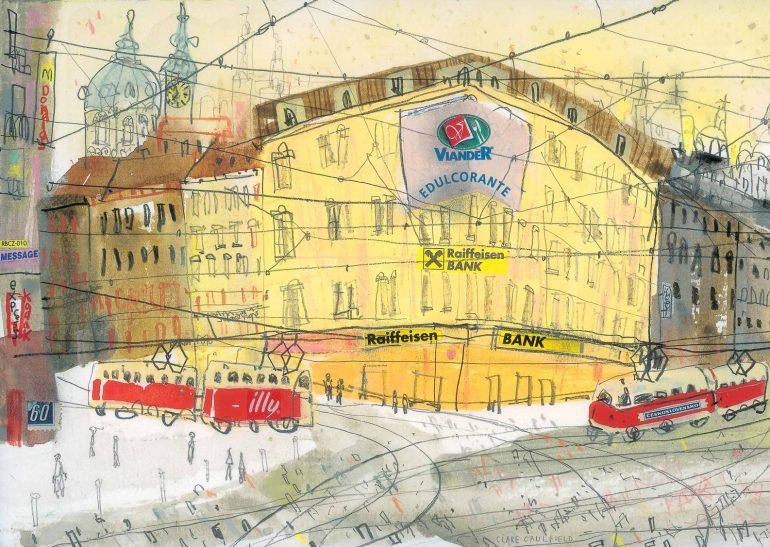 prague city illustration