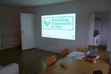 Projection screen in living room for event in April 2014