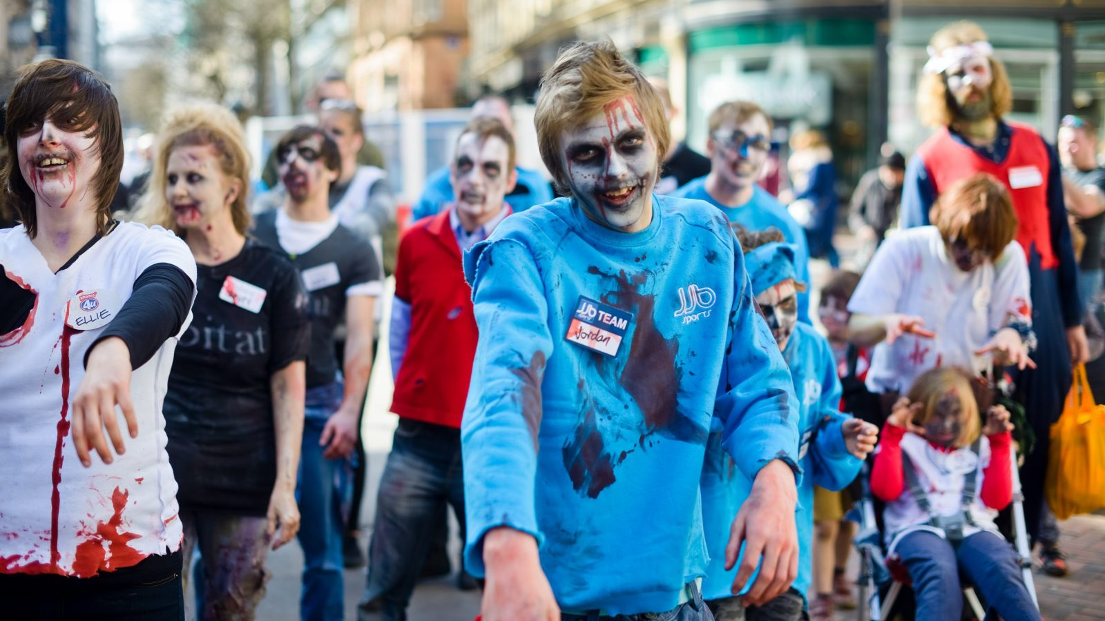 Zombies walk through Birmingham City Centre in April 2015