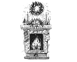 Christmas fireplace illustration