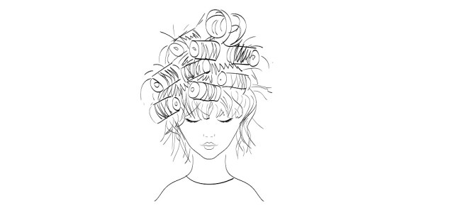 woman with curls illustration