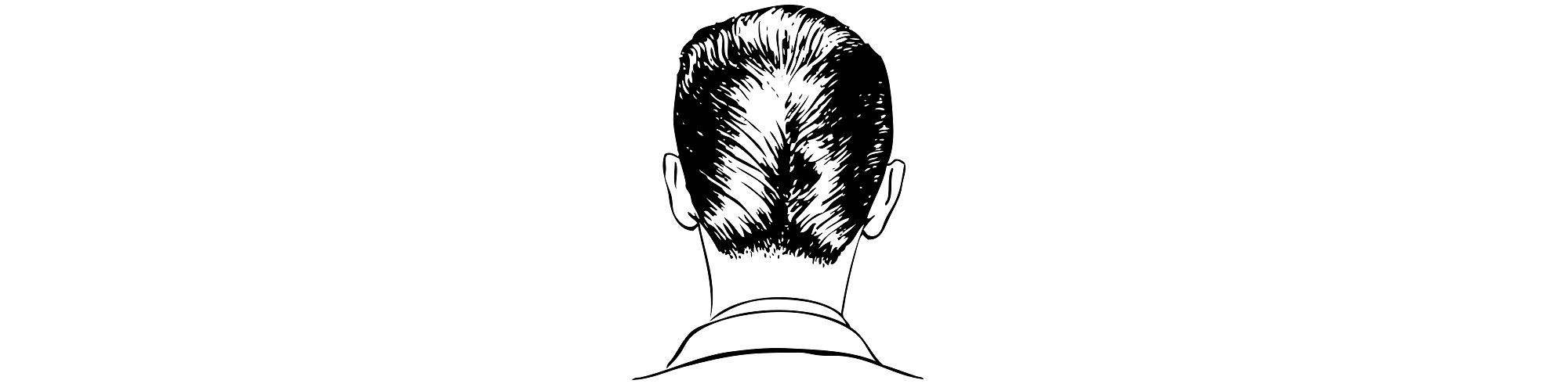 "Back of man's head illustration - ""Ego"" flash fiction"