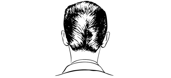 "Back of man's head illustration - ""Ego"" flash fiction"
