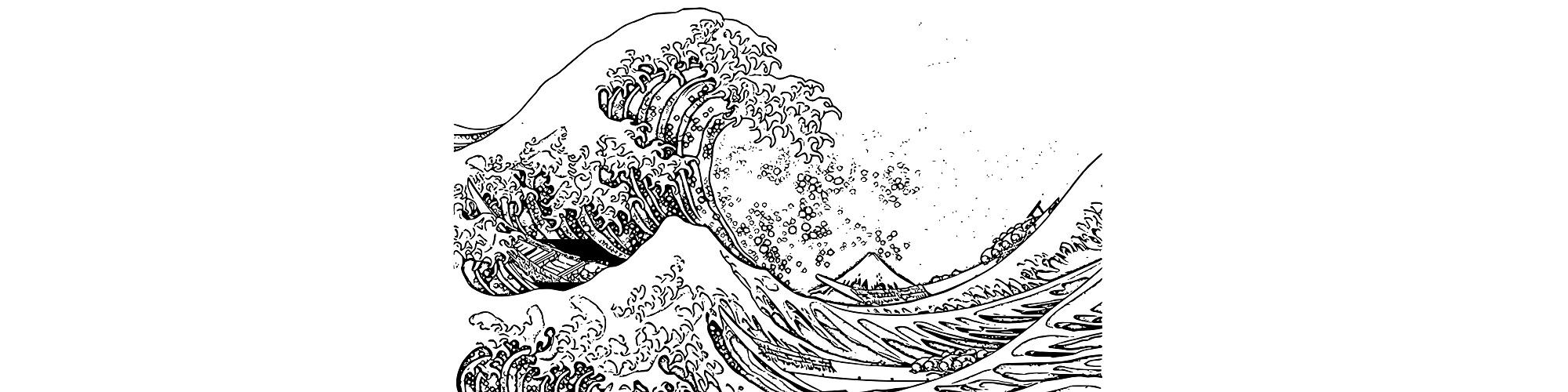"Waves illustration - ""Off to Sea"" microfiction"