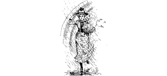 "Victorian woman in rain illustration - ""Rainy Day"" microfiction"
