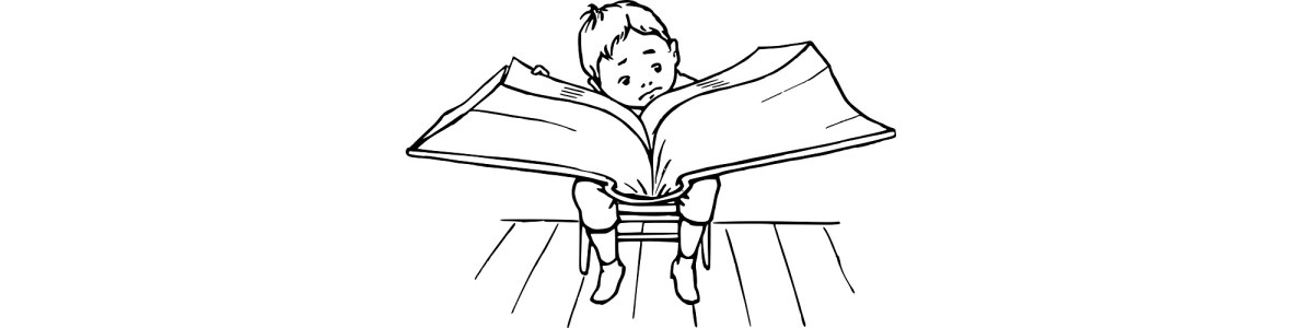 "Boy reading big book illustration - ""I refuse to stop reading bad books"" blog"