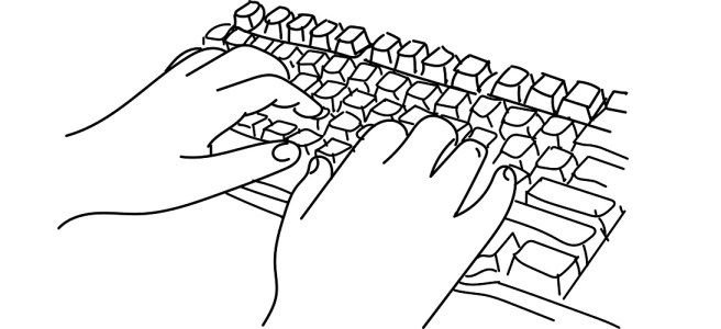 "Hands typing on keyboard illustration - ""Missed Targets"" flash fiction"