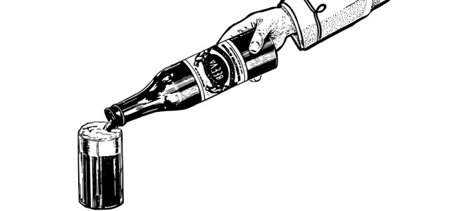 """Hand pouring a bottle of beer illustration - """"Liquid Lunch"""" short story"""