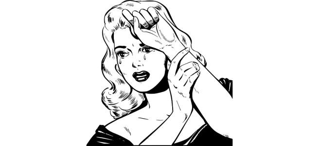 Woman crying illustration