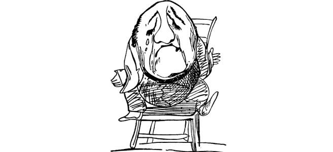 "Cartoon of sad man - ""Here Comes Dreary January"" flash fiction"