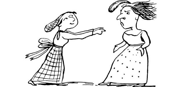 "Edward Lear illustration of two women - ""Village Secrets"" flash fiction"