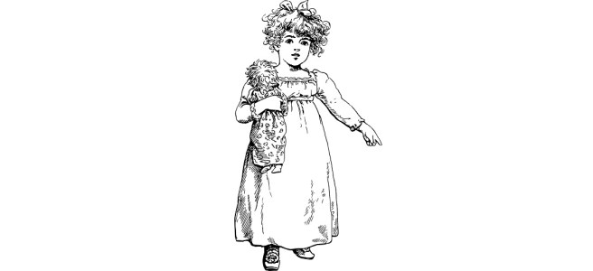 """Illustration of little girl pointing - """"Questions for kids"""" flash fiction"""