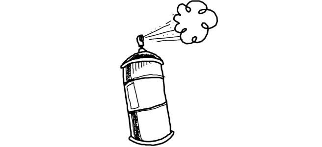 "Spraypaint can illustration - ""Phalluses of Modern Art"" microfiction"