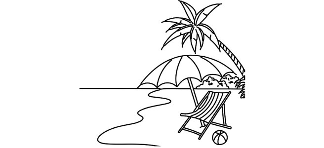 "Tropical beach illustration - ""Teeny Little Creatures on a Grain of Sand"" microfiction"