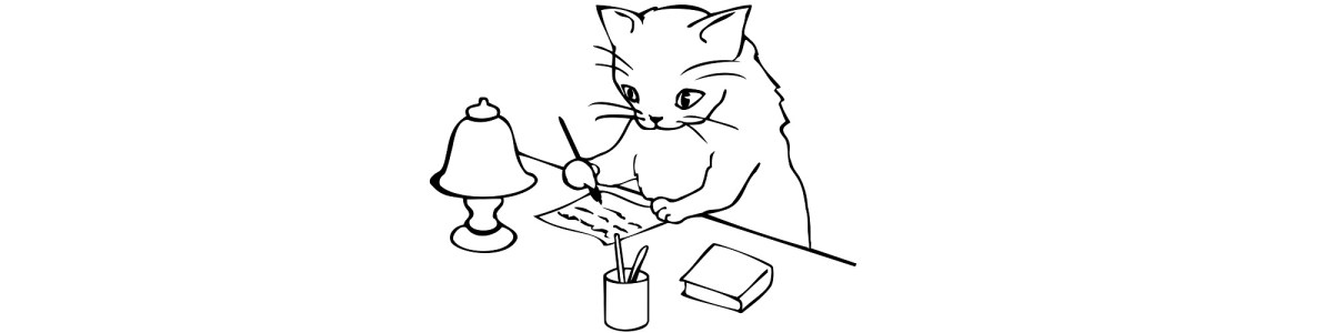 Cat writing illustration