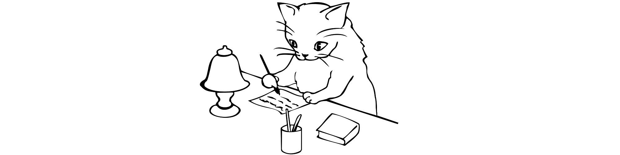 Cat writing illustration