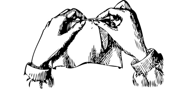 "Hands sewing illustration - ""Quilting"" flash fiction"