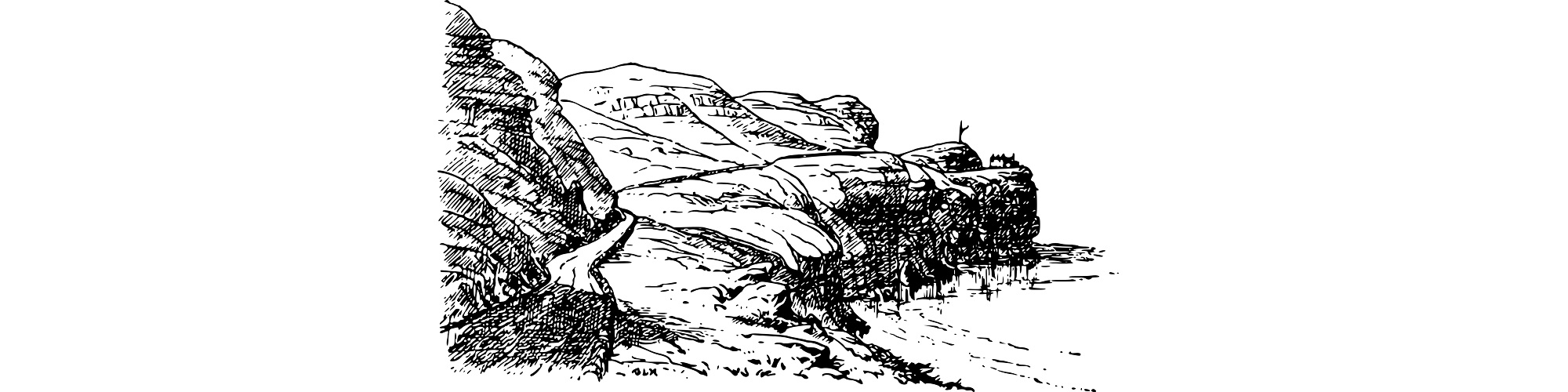 """Illustration of cliffs and sea - """"Ludicrous"""" short story"""