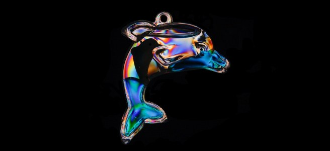 Glass dolphin on black background