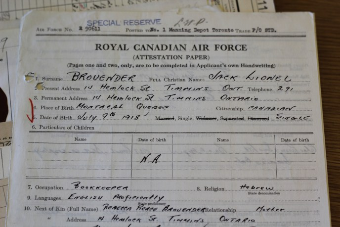 Attestation papers RCAF WWll