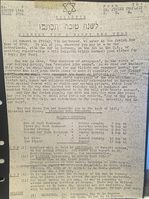 Bulletin for Jewish New Year 1945
