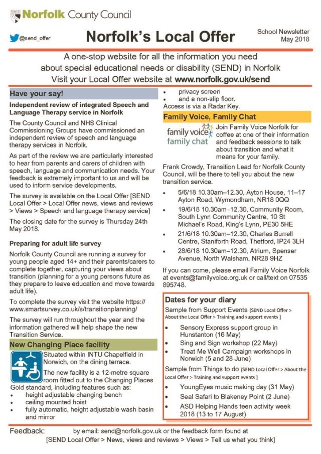 thumbnail of MAY Newsletter Norfolk Local Offer