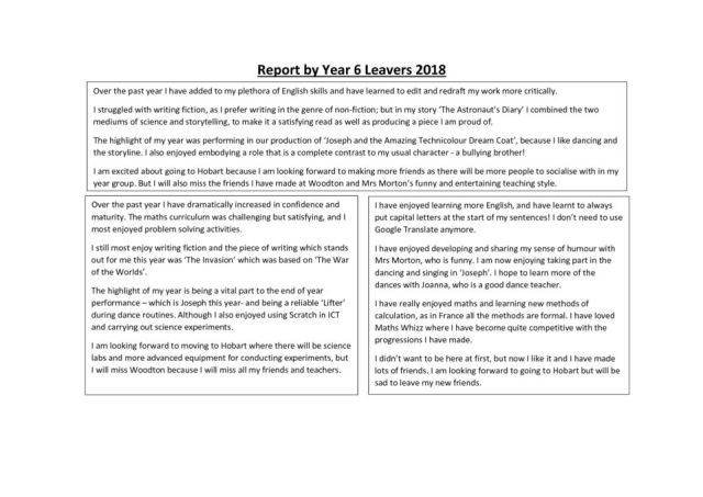 thumbnail of Report by Year 6 Leavers 2018