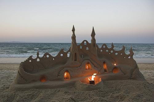 Illuminated Sand Castle, Santa Cruz, California