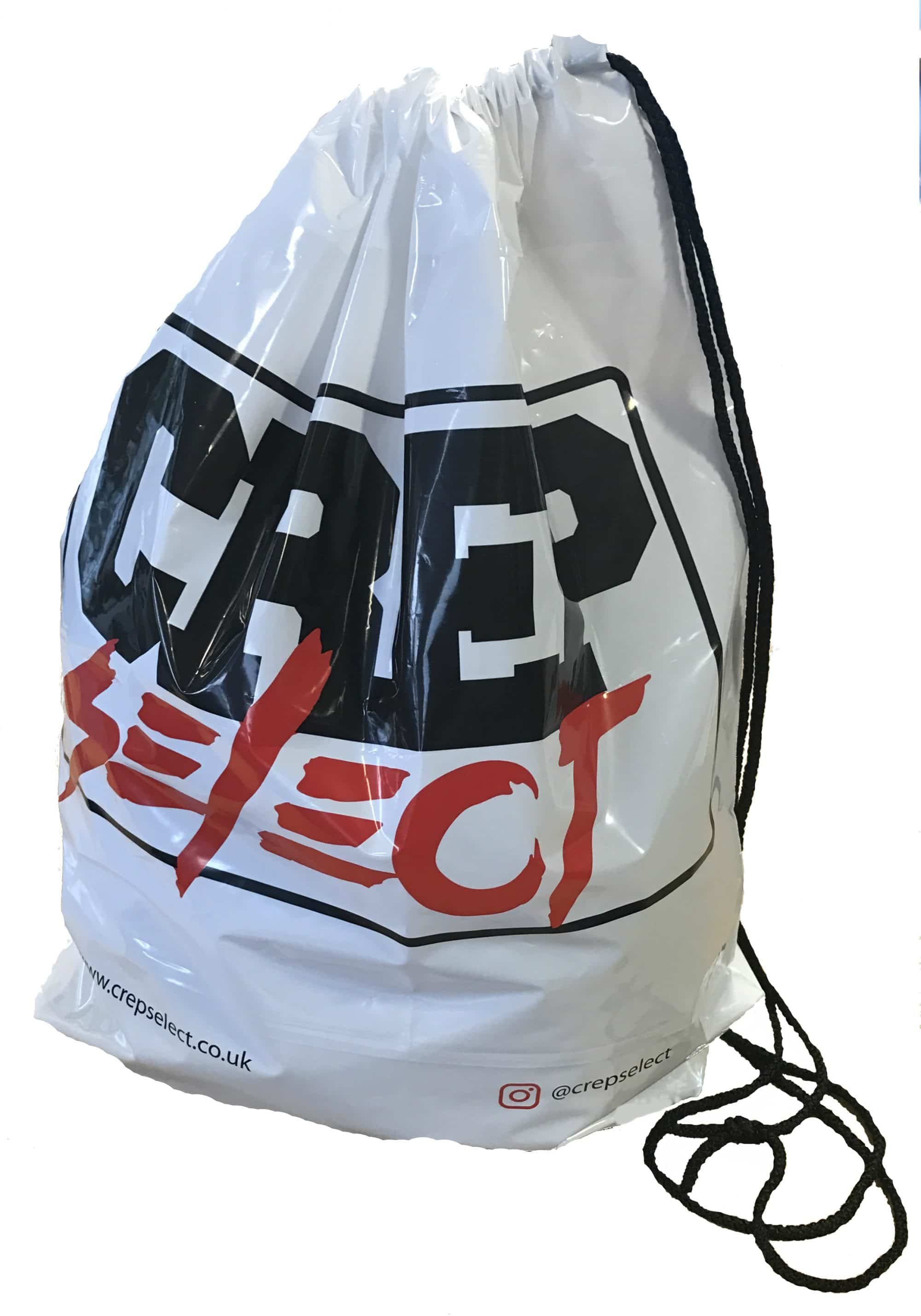 Polythene LDPE duffle bag. Printed duffle bag. Over the shoulder bag with cord handles. Printed with your logo.