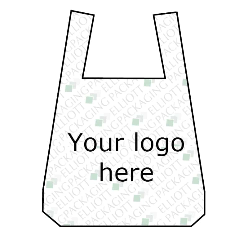 Vest style printed carrier bags made from HDPE. Supermarket style carrier bag.