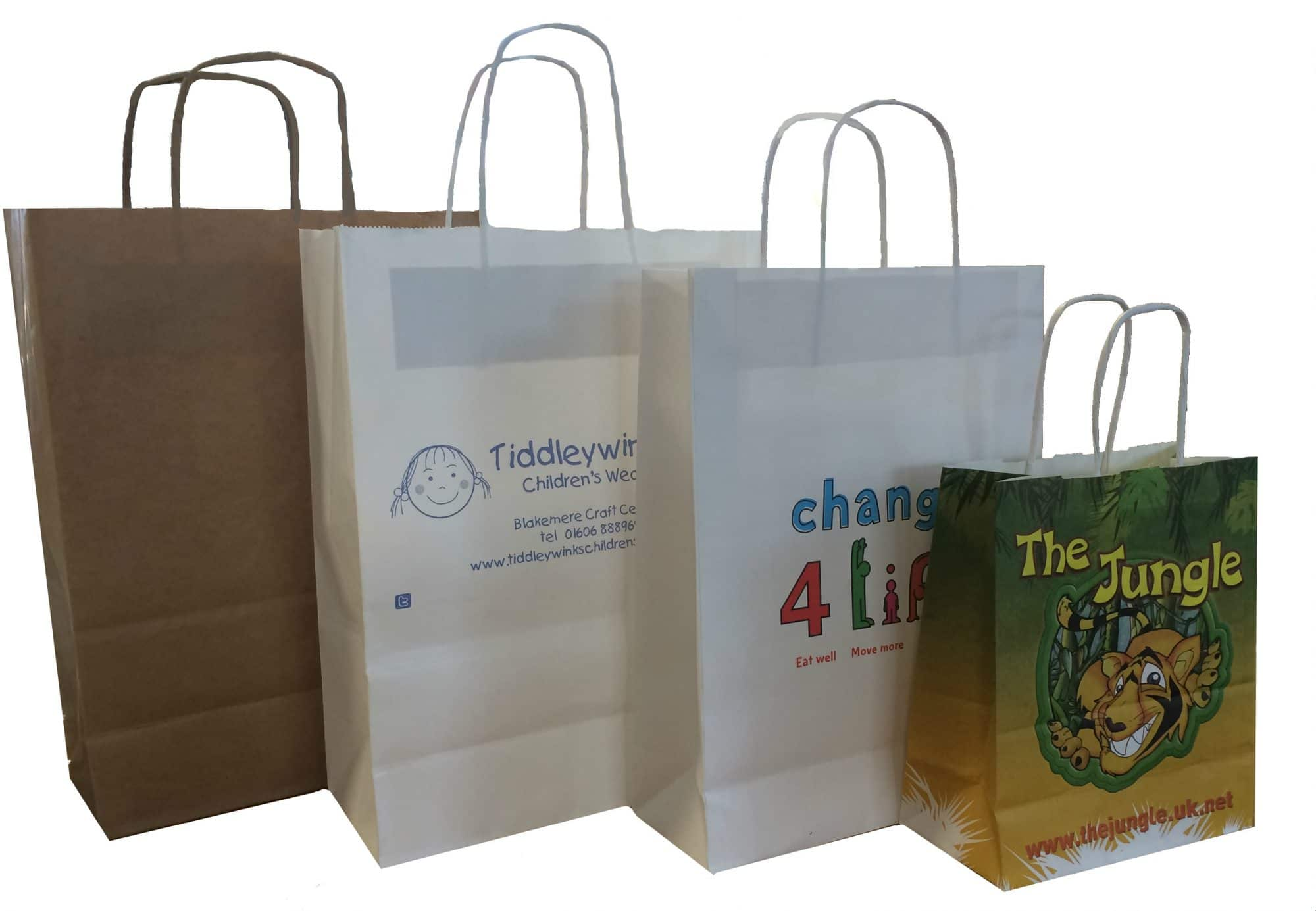 Custom printed kraft paper twisted paper handle eco friendly carrier bag