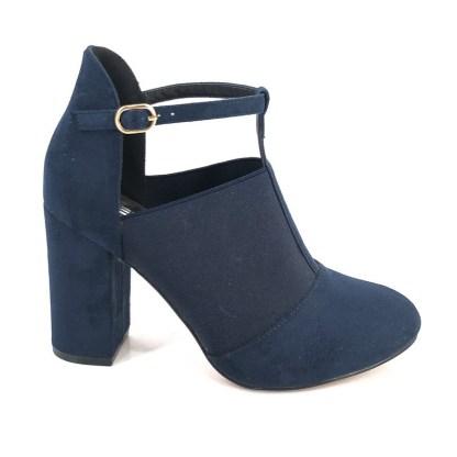 blauwe elegante damespump met hak