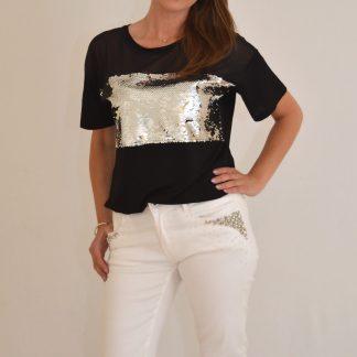 T-shirt met glittereffect