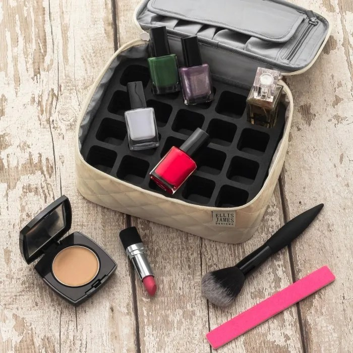 Cream Mini Makeup Train Case