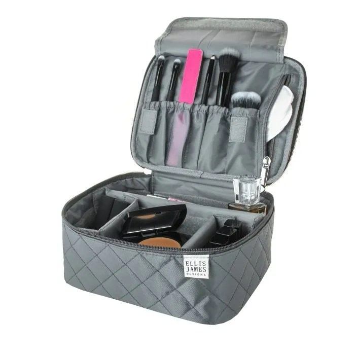 Grey Mini Makeup Train Case  b2f2a7004ae2