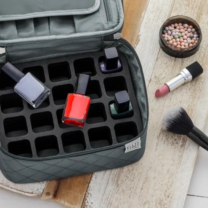 Grey Mini Makeup Train Case