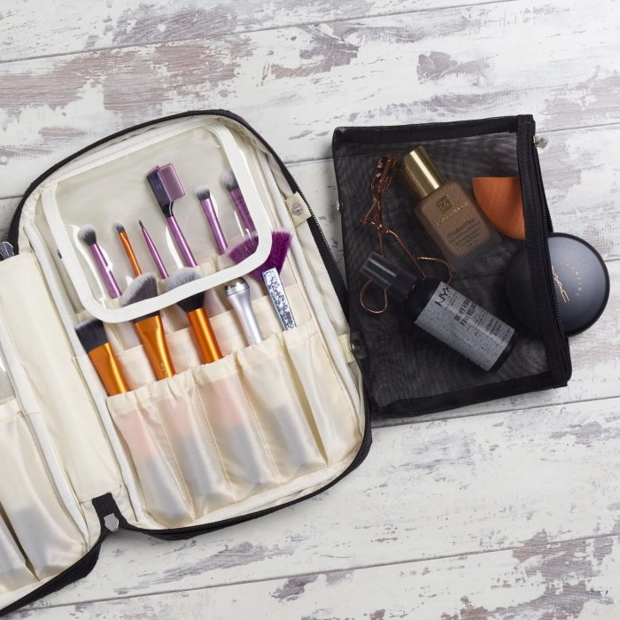Ellis James Designs Makeup Brush Bag with Detachable Makeup Bag Pouch