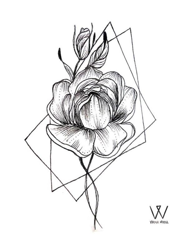Цветы чернобелые Тату эскизы Галерея идей для
