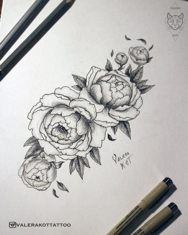 Эскиз татуировки Цветы чернобелые 44927 Тату салон 171Дом