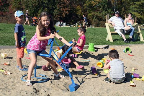 Digging in the sandbox at Ellms Family Farm - Kid friendly activities