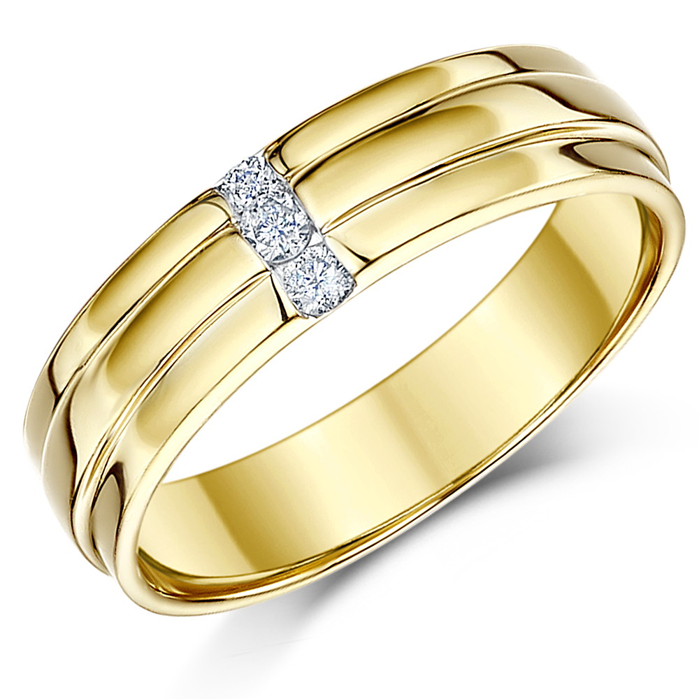 His Hers 5amp6 9ct Yellow Gold Diamond Wedding Rings